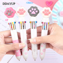 Korean 10 Color Ballpoint Pen Stationery Cute Cat Paw Theme Cartoon Kawaii School Writing Gifts