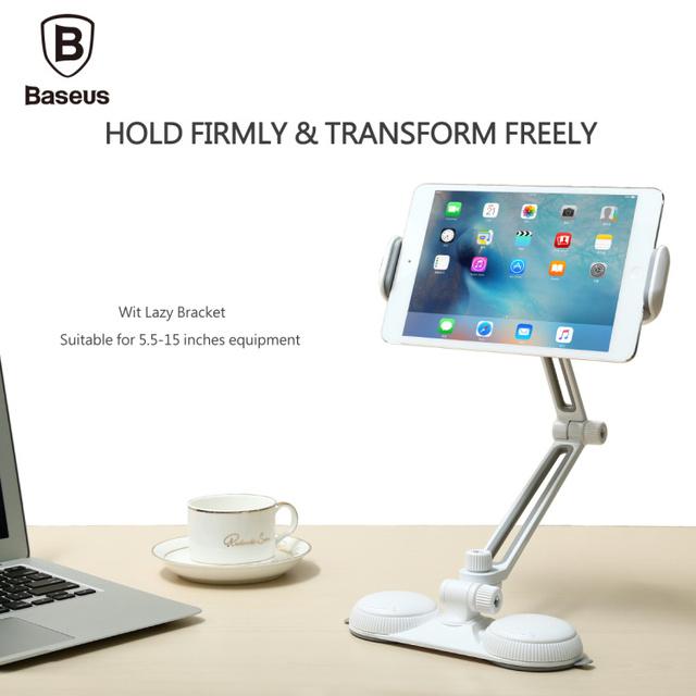 De baseus brazo largo ingenio lazy soporte para 5.5-15 pulgadas del teléfono ipad Pro Mini 2 4 Ventosas Adsorción Teléfono Tablet PC Holder Soporte 3