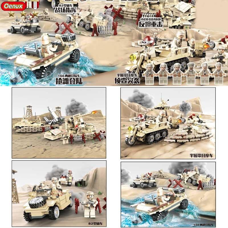 Oenux WW2 Norden Kampagne Krieg Klassische Fahrzeug Krupp Artillerie 82 Kubelwagen Modell Baustein Deutsch Militär Abbildung Ziegel Spielzeug