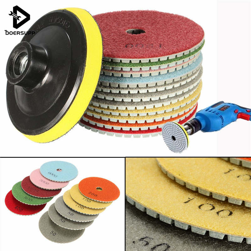 12PCS/set 100mm 4 Inch Diamond Polishing Pads Wet Dry Set Kit Saw Discs For Granite Concrete Marble Polish