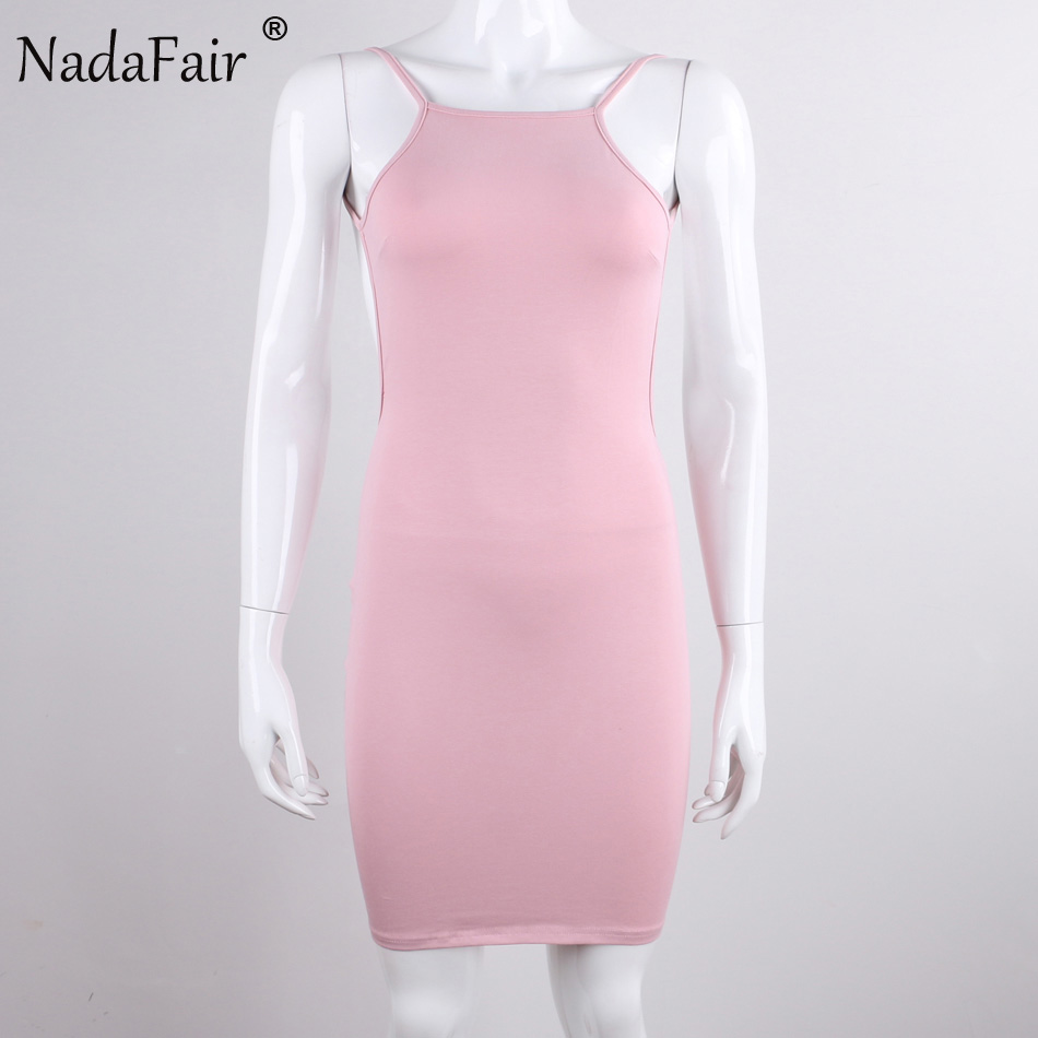 Nadafair 95% Cotton Spaghetti Strap Black Sexy Club Backless Bodycon Dress Women Summer Beach Casual Mini Dress 3