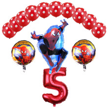 New 14 Pcs/set 32 Inch Number Spider-man Helium Ballon Spiderman 1-9 years Happy  Birthday Party Latex Balloons Decorations