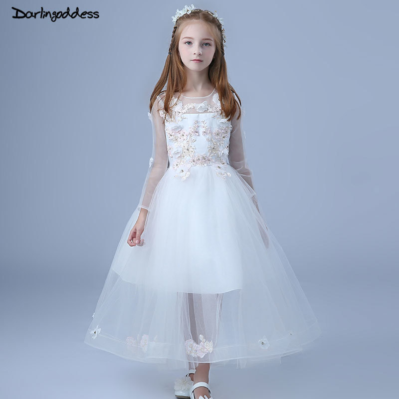 2018 Long Sleeves   Flower     Girl     Dresses   for Weddings Lace Appliques First Communion   Dress   White Pageant   Dresses   For Little   Girls