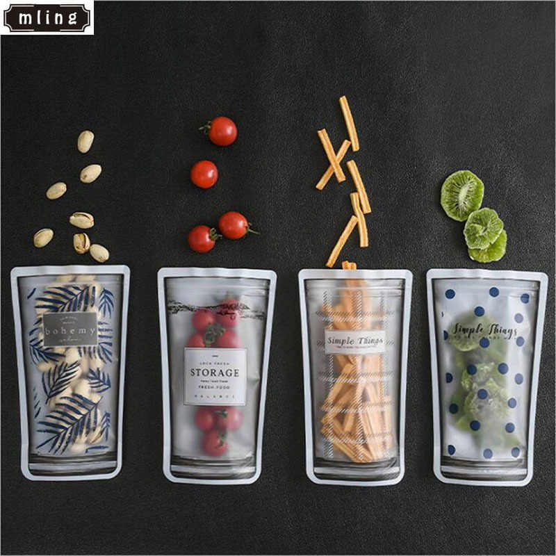 4pcs Reusable Containers Seal Silicone Food Fresh Bag Vacuum Sealer Fruit Meat Milk Storage Bags Useful Reusable Produce Bags