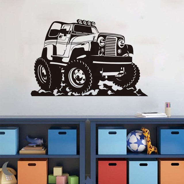 Truck car wall stickers large size for kids boys room removable vinyl art self adhesive wall