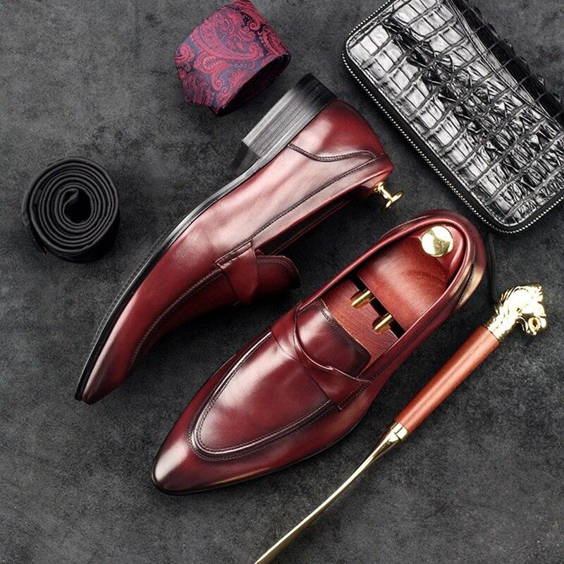 Apontou Crescente Couro Italiano Dos Festa Nupcial Gd66 Homens Sapatos Básico marrom Toe Altura Calçados Homem Casuais Preto De Designer Genuíno xq75YFw8