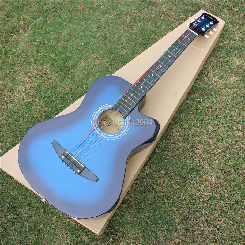 andrew 38 inches color string practice acoustic guitar manufacturers selling blue guitar. Black Bedroom Furniture Sets. Home Design Ideas