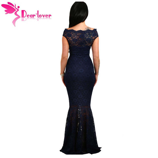 bf00757fd placeholder Dear-Lover Lace Dresses Party Gowns Off Shoulder Ladies Robe de  Soiree Navy Fishtail Maxi