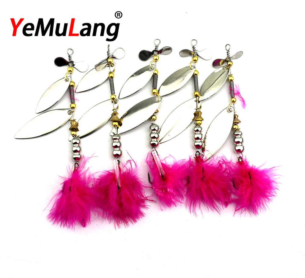 BB697  Spinner Bait Metal Artificial Fishing Lure Double Tail Propeller Hard Baits With 6# Feather Hook Trout CarpBB697  Spinner Bait Metal Artificial Fishing Lure Double Tail Propeller Hard Baits With 6# Feather Hook Trout Carp
