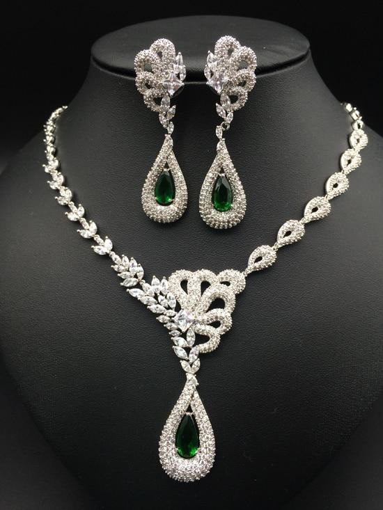 2018 NEW fashion luxury noble retro green water drop zircon necklace earring set,wedding bride dress dinner jewelry set