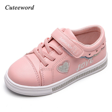 Children Sports Shoes 2019 Spring New Flat Leather Casual Girls Shoes Kids School Running Shoes Girls Sneakers Pink White Black цена