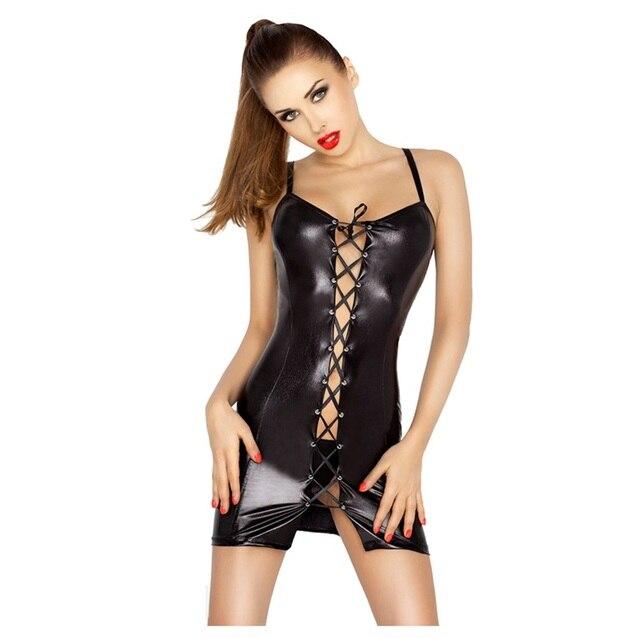 Women Pole Dance Erotic Dress Costumes Pu Leotard Latex Unitard Leather Sexy Lingerie Hot Latex Sexy