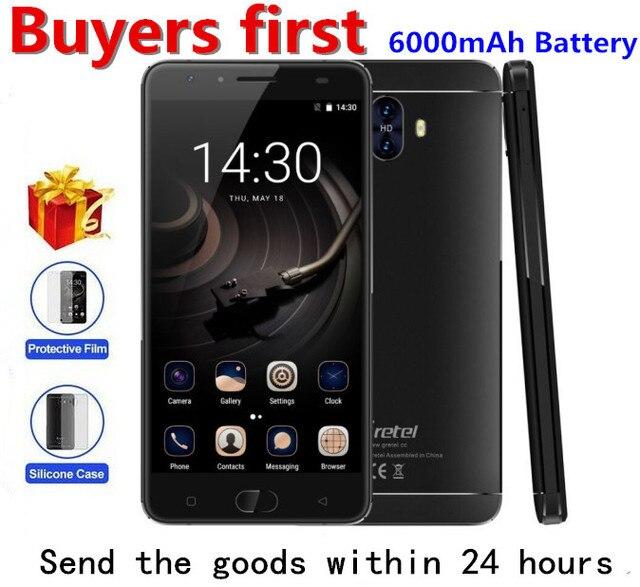 """Гретель GT6000 6000 мАч 4 г MTK6737 Quad Core Android 7.0 мобильный телефон 2 ГБ Оперативная память 16 ГБ Встроенная память Quick Charge 9 В/2A 5.5 """"13MP смартфон"""