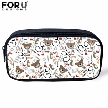 FORUDESIGNS Bear Nurse White Cute Cosmetic Cases for Women Small Kids Girls Pencil Bags Boys Nursing School Supplies Pen Bags