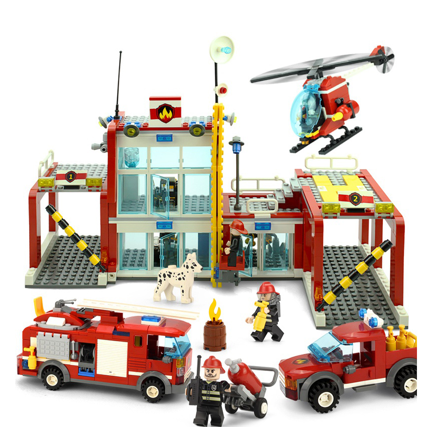 GUDI The Fire Department Rescue With Vehicles Helicopter Action Building Block Sets Bricks 2017 Kids Educationaal Toys Gifts the rescue