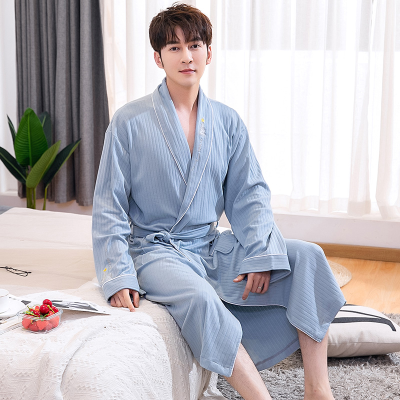 Bathrobe Men 100% Cotton Spring Summer Waffle Robe Sleepwear Long Sleeve Long Bathrobe Kimono Man Casual Home Clothing Pijamas