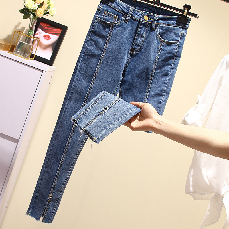 2019 Skinny Jeans Split Hems High Waist Plus Size Pencil Denim Clothes Zipper Fly Pockets Streetwear    Woman
