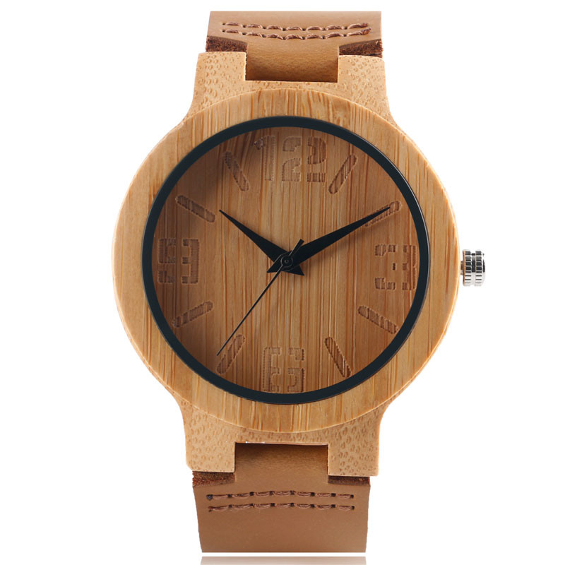 High Quality Hand-made Quartz Bamboo Wooden Watch for Men Women Brown Genuine Leather Watchband Natural Wood Wristwatch Gift