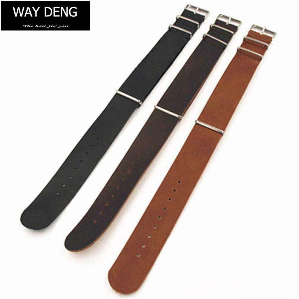 Way Deng - Men's Vintage ZULU Leather Watchband 18/20/22/24 Mm Silver Pin Buckle Long Strap Watch Band Accessories - Y032