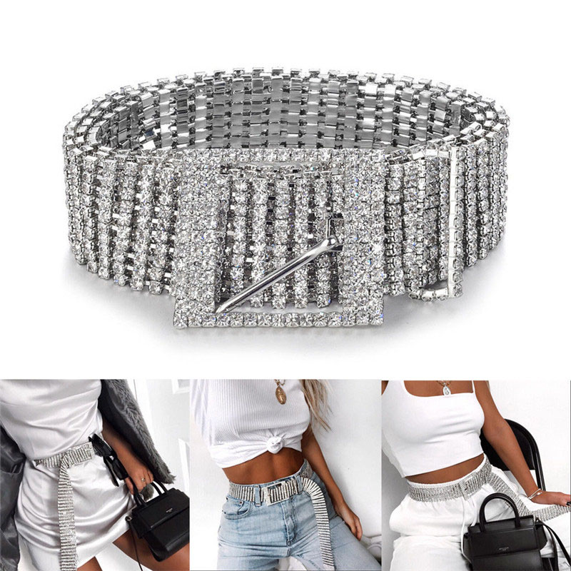 Female Silver Full Rhinestone Diamante Ladies Waist Charm Diamond Alloy Belt Fashion Accessory Casual One Size For Adults in Men 39 s Belts from Apparel Accessories