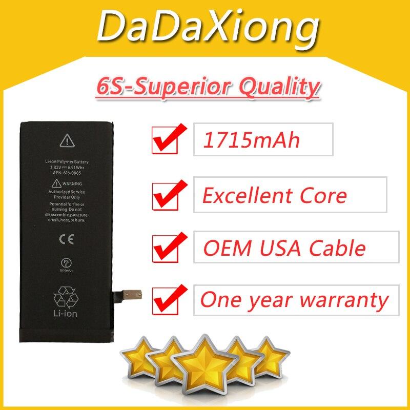 10 pcs/lot Excellent noyau USA panneau de Protection pour iPhone 6 S 6GS batterie 1715 mAh zéro cycle pièces de réparation de rechange 6S-AA