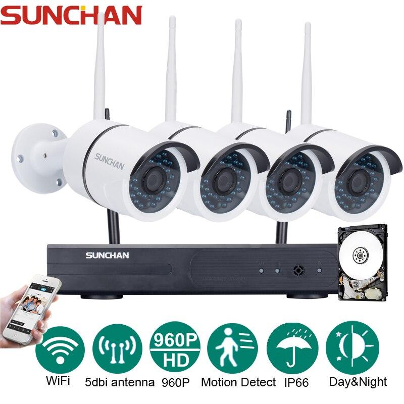 bilder für Sunchan plug and play hd 4ch nvr 960 p drahtlose cctv System Outdoor Nachtsicht Überwachungskamera Hause WIFI Überwachung Kit 1 TB