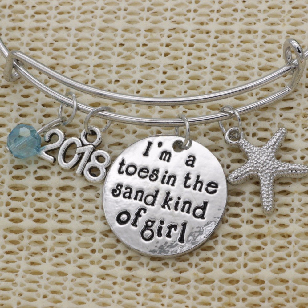 Fashion Inspirational bracelet crystal Jewelry 2018 sea star Im a toes in the sand kind of girl adjustable Bracelet B158