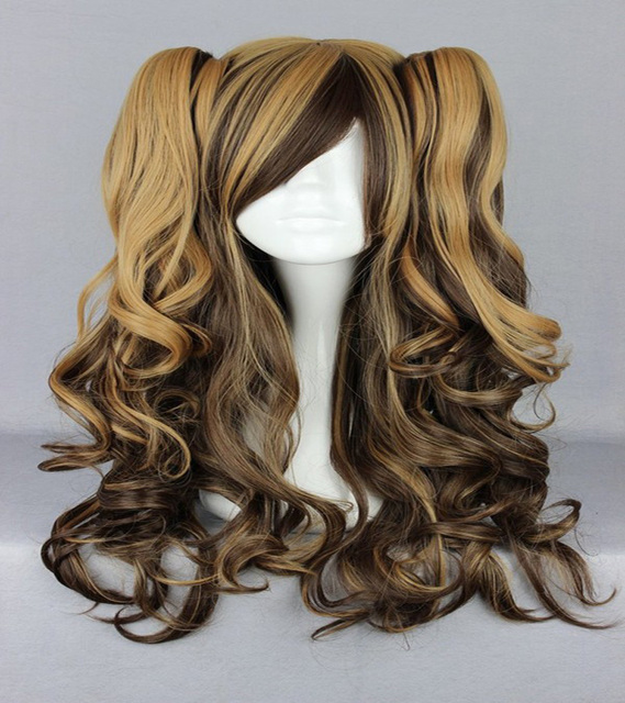 HAIRJOY Ombre Weave 70cm Long Braided Synthetic Lolita Wig Heat Resistant Mix Brown Cosplay Wig