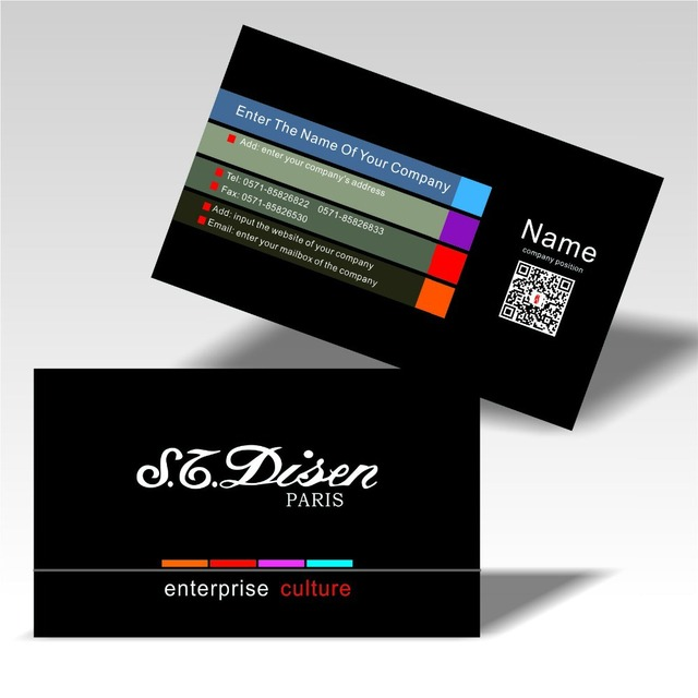 2017 Horizontal Design Custom Business Cards Colorful Printing Two Dimension Code Visit Card 300gsm Coated Paper