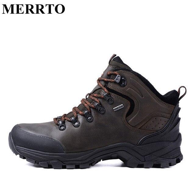 Merrto Mens Tahan Air Hiking Sepatu Gunung Kulit Sepatu Hiking Pria Sepatu  Trekking Bernapas Luar Sepatu 33d6f7ae16