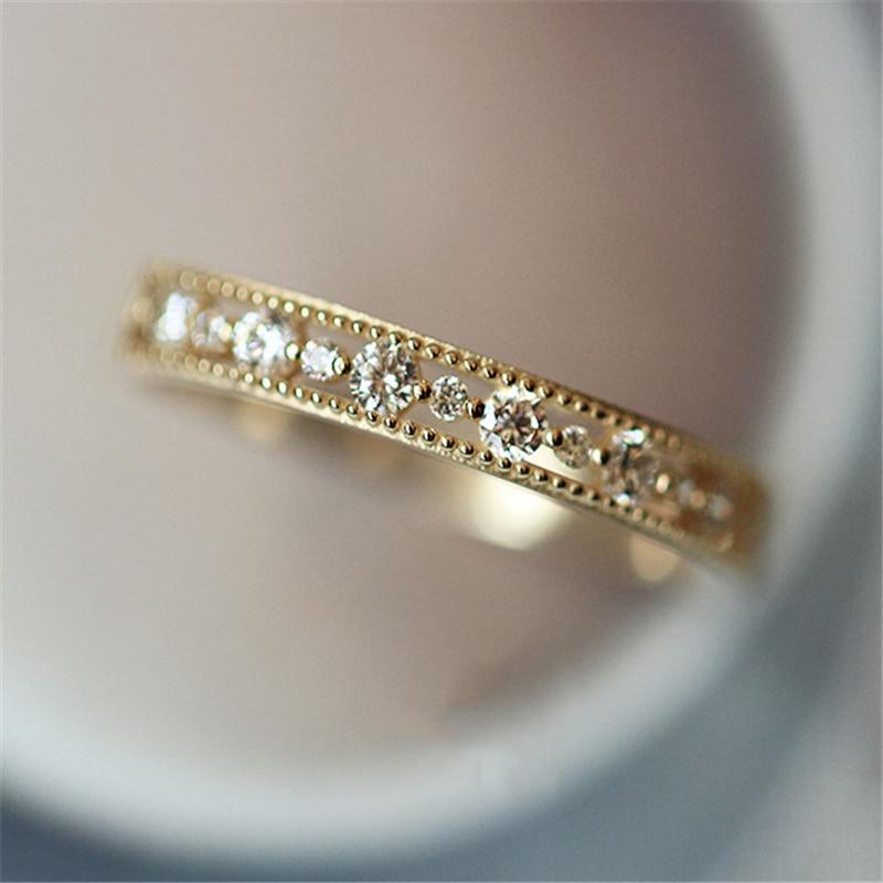 Womens Slim Crystal Simple Wedding Ring Ring Zirconia Simple Rings For Women Anti Allergies
