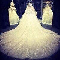 Romantic Sweetheart Ball Gown Wedding Dress 2017 Vestido de Novia 3D Lace Appliques Arab Wedding Dress Luxury Bridal Gowns