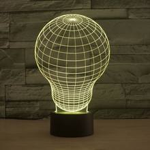 Amazing Acrylic 3D Illusion Bulbing Light  Night Light for Children Bulb Shaped Led Desk Lamp Kids Lava Lamp