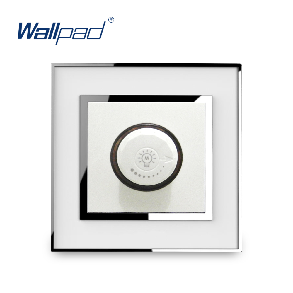 Dimmer Light Switch Knob Switches New Arrival Wallpad Luxury Acrylic Panel With Silver Border 15-500W bedroom silver tone knob adjustable light controller dimmer switch