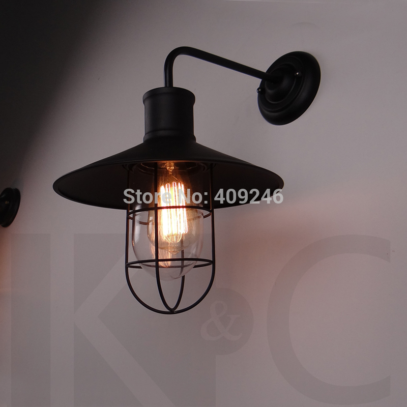 ФОТО Loft Edison Wrought Iron Glass Wall Lamp Industry Black/White Edison Wall Lamp For Cafe Bar Club Bedroom Bedside Hall Aisle