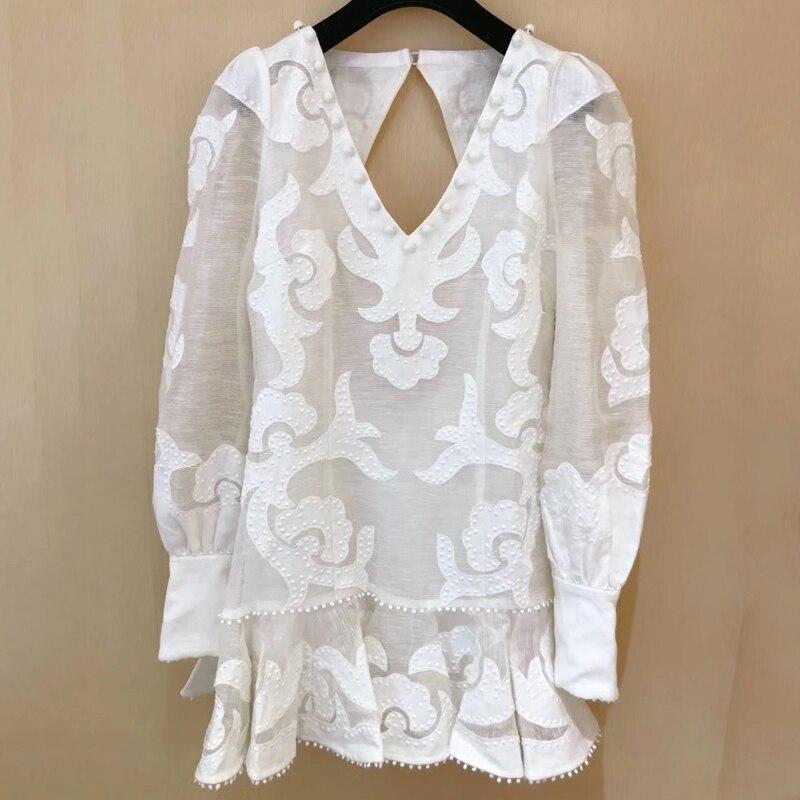 3 11 White Mini Dress Women Summer Silk Linen V neck Long Sleeve Backless Dress 2019