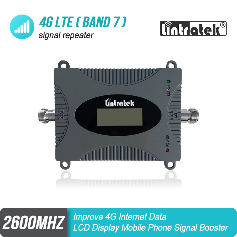 Lintratek New LCD Display 4g Signal Booster  Band 7 4G Repeater Cellphone Repeater 70dB Signal Amplifier 4G LTE 2600mhz S5J2