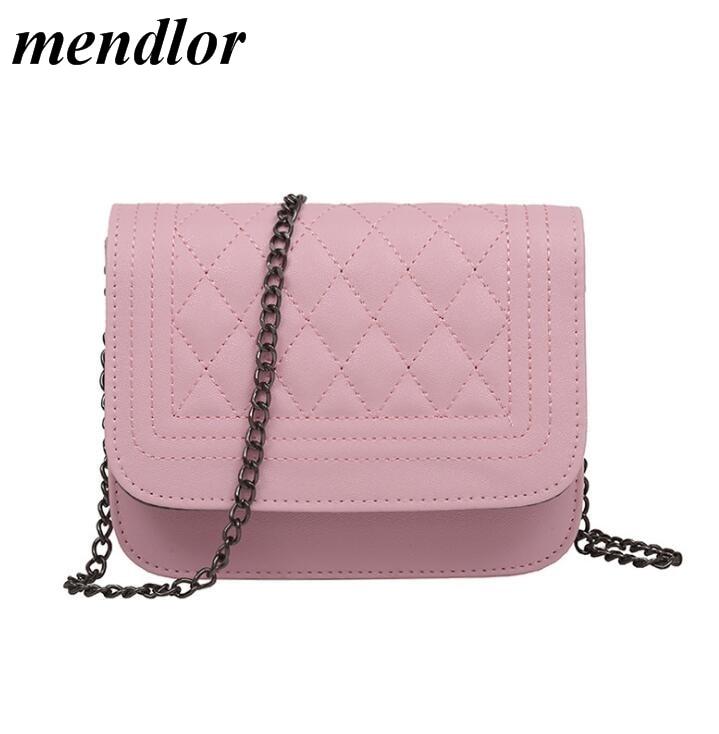 2018 new PU Leather Women Messenger Bag Plaid Ladies Crossbody Bag Chain Trendy Candy Color Small Flap Shopping Handbag