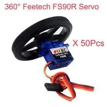 """50 Pcs Feetech FS90R סרוו 360 תואר רציף סיבוב מיקרו RC סרוו מנוע עם גלגל עבור רובוט RC רכב מל """"טים FZ0101 01"""