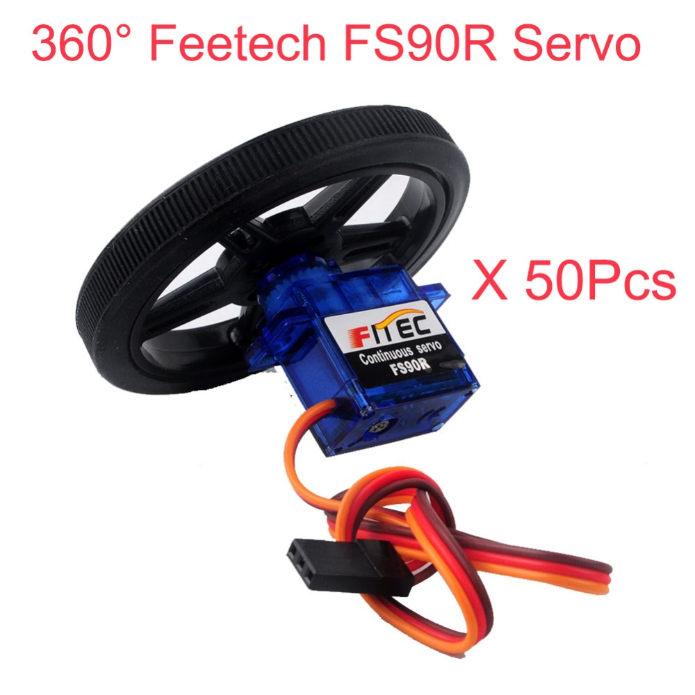 50 pièces Feetech FS90R Servo 360 Degrés Rotation Continue Micro Servomoteur RC avec Roue Pour Robot Voiture RC Drones FZ0101 01-in Propulsion from Electronique    1