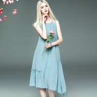 Luxury Brand Elegant Dress Women Silk Dress Ruffle Shirt Dress Female Summer Sundress Beach Tunic Midi