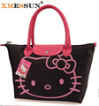 Promotions! Hello Kitty Bag Designer Waterproof Shoulder Bag Black Shopping Girls Women Handbags bolsa nylon feminina
