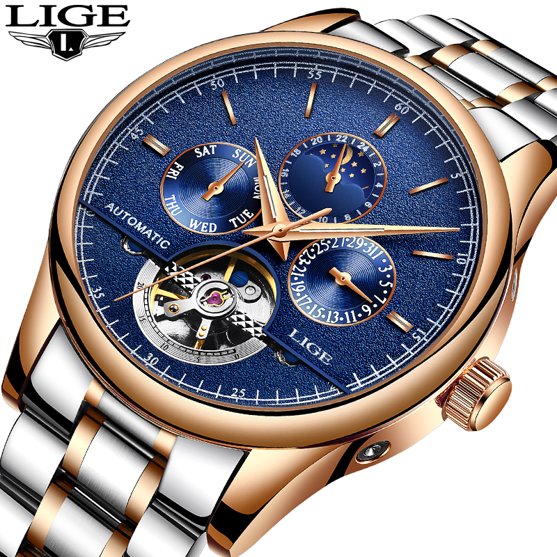 Lige brand men watches automatic mechanical watch tourbillon sport clock leather casual business for Lige watches