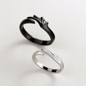 Sterling Silver Angel And Devil Couple Rings