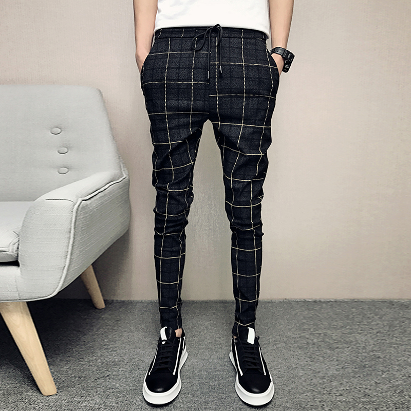 2019 New Style Fashion Male  Elastic Waistline Leisure Joggers Sweatpants/Men High-grade Pure Cotton Tight Grid Pencil Pants 33