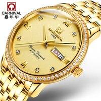 AAA Top Marka Luksusowy Zegarek Karnawał ludzie Biznesu Automatyczne Mechaniczne Sapphire Szkło Diament 18 K Złoty Zegarek Ze Stali Nierdzewnej