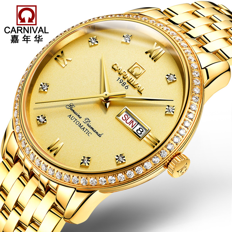 AAA Top Brand Luxury Carnival Watch men Business Automatic Mechanical Sapphire Glass Diamond Stainless Steel 18K Gold Watch blue indian luxury headpieces king queen unisex cosplay costumes diamond feather headdress for women and men peagents carnival