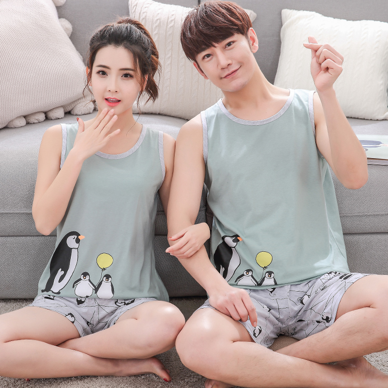 Summer Striped Pyjamas Cotton Couple Pajamas Set Women Sleepwear Pajama Sets Man Pijamas Mujer Lover Pyjamas Plus Size Clothing