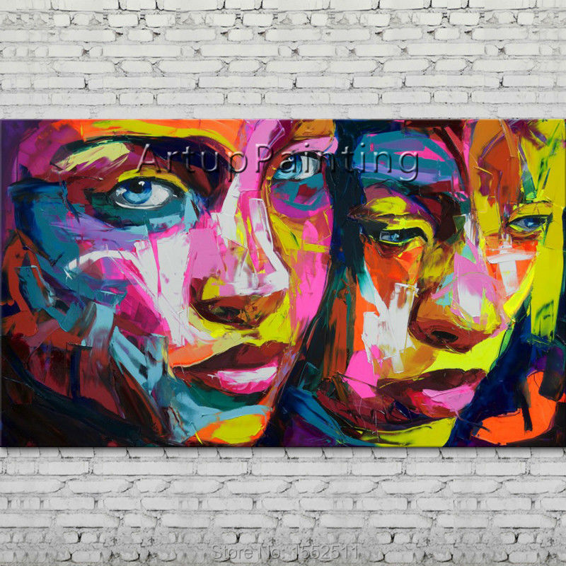 Palette knife portrait Face Oil painting Character figure canva Hand painted Francoise Nielly wall Art picture 14-(1)Palette knife portrait Face Oil painting Character figure canva Hand painted Francoise Nielly wall Art picture 14-(1)