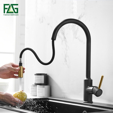 цена на FLG Kitchen faucet Pull Out Cold and Hot mixer tap Black White water Single Holder faucet kitchen sink faucet